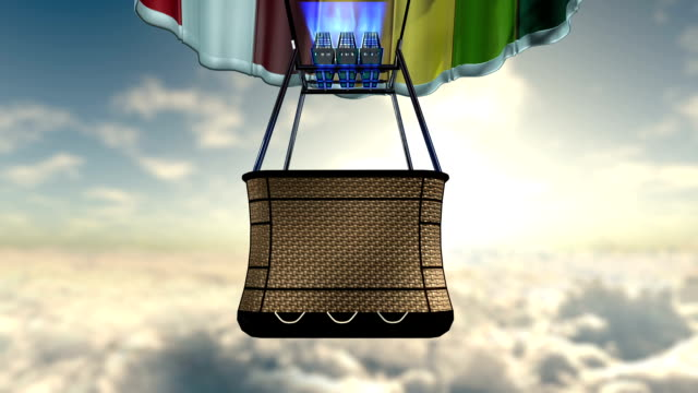 flight of aerostat with basket and clouds video