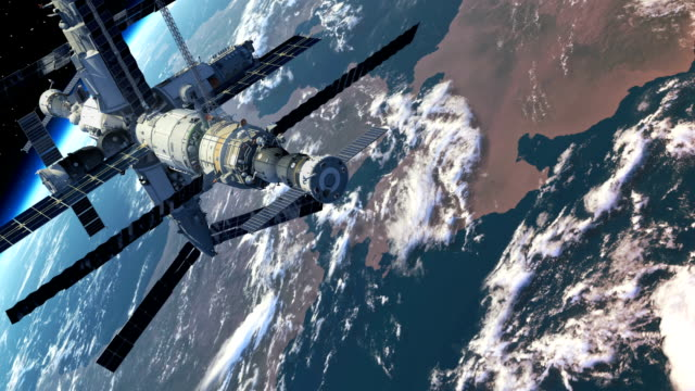 Flight Of The Space Station Above The Earth video