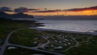 Flight over a campsite at the Lofoten Islands coastline in Norway video