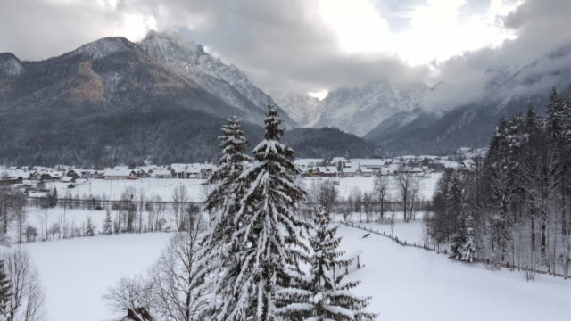 AERIAL Flight over a snowy valley video