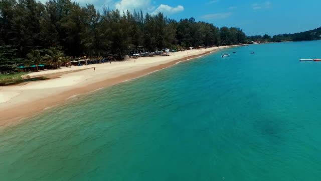 Flight over Bang Tao beach. Phuket. Thailand. Aerial view. video