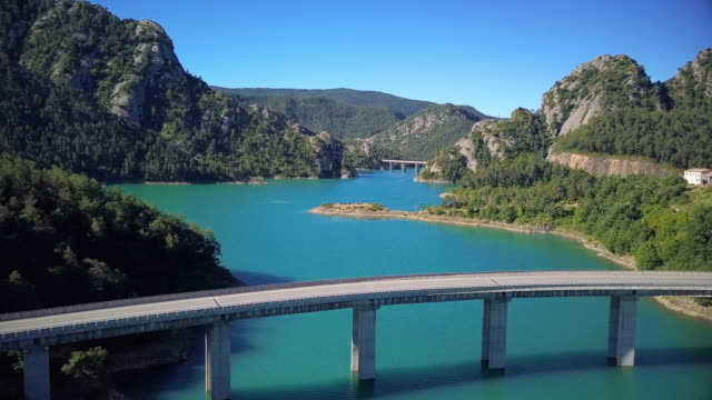 Flight over beautiful lake in mountains of Spain video