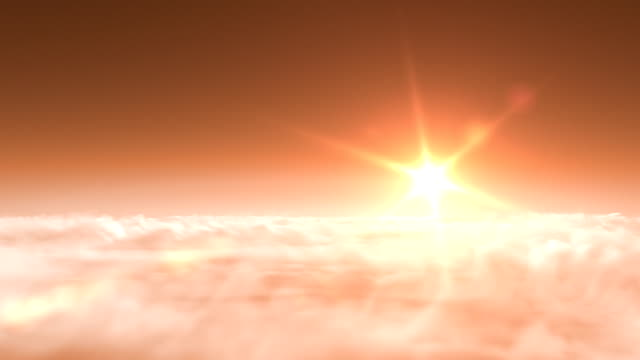 flight over clouds, sunset video