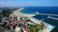 Flight over Constanta coastline, Romania video