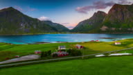 Flight over idyllic landscape at the Lofoten Islands in Norway - Aerial View video