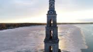 Flight over Kalyazin Bell tower video