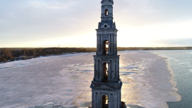 Flight over Kalyazin Bell tower video