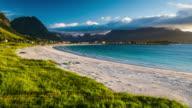 Flight over Lofoten Islands beach Rambergstranda, Norway video