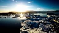 Flight over Melting Icebegs - Jokulsarlon Iceland video