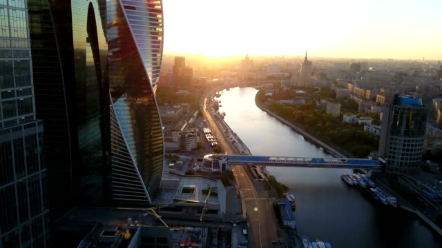 Flight over Moscow and modern skyscrapers video