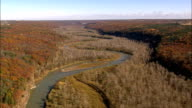 Flight Over River In Letchworth Park - Aerial View - New York,  Wyoming County,  United States video