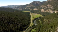Flight Over Rocks Above Gallatin River  - Aerial View - Montana, Gallatin County, United States video