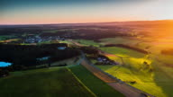 Flight over rural landscape in beautiful sunset light in Germany video