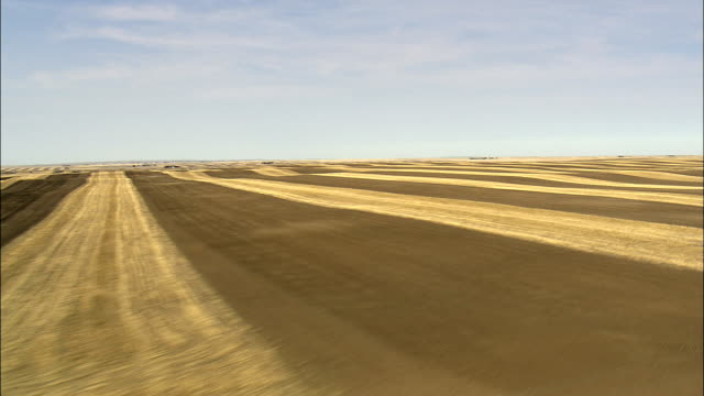 Flight Over Striped Field Pattern  - Aerial View - Wyoming, Platte County, United States video
