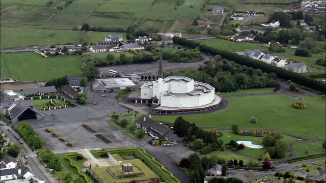Flight Past Knock Basilica  - Aerial View - Connaught, County Mayo, Ireland video