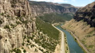 Flight Round Bend In Big Horn Canyon  - Aerial View - Wyoming,  Fremont County,  helicopter filming,  aerial video,  cineflex,  establishing shot,  United States video