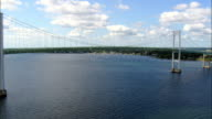 Flight Round Newport Bridge  - Aerial View - Rhode Island, Newport County, United States video