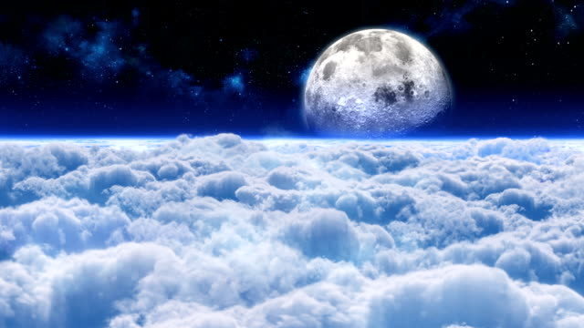 Flight through clouds to the moon. video