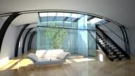 flight throught modern interior with garden video