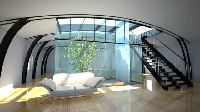 flight throught modern interior with garden video