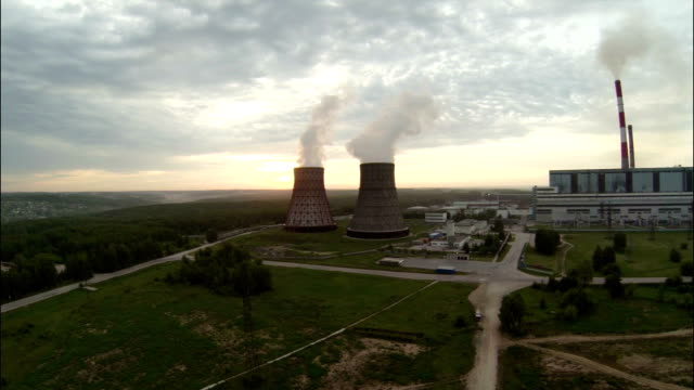 Flight to Cooling Towers at Dawn video