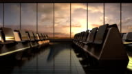 Flight waiting hall. lounge, sunset. moving camera. video