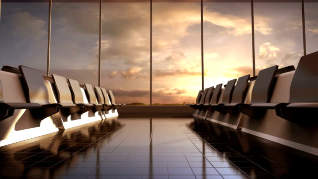 Flight waiting hall. lounge, sunset. video