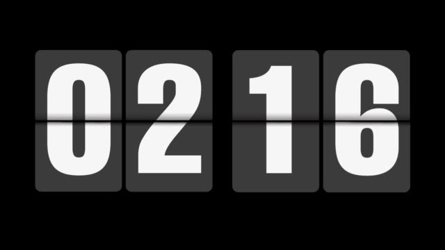 Flip clock 2-3 o'clock on black background video