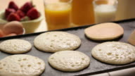 Flipping breakfast pancakes video