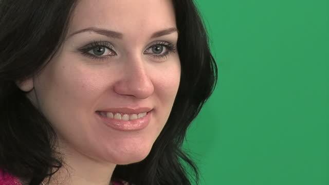 Flirting green - eyed brunette girl video