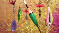 float and baits on a fishing net background video