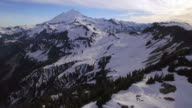 Floating Aerial Shot of Snowy Mt Baker, Washington in Summertime video