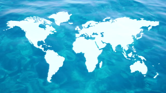 Floating continents on water. video