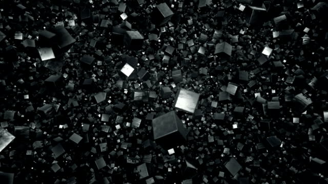 Floating Field of Metallic Debris Cubes video