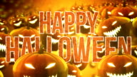 Floating halloween pumpkins background (with text)- Loop video