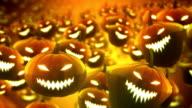 Floating halloween pumpkins background - Loop video