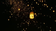 Floating Lanterns in Night Sky. video
