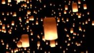 Floating Lanterns in Yee Peng Festival. Loy Krathong Celebration in Chiangmai, Thailand. Beautiful 3d animation. HD 1080. video
