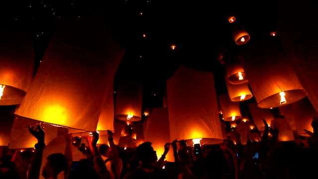 Floating Sky Lantern, Loi Krathong Festival in Thailand video