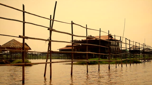 Floating village at Inle Lake, Myanmar - tracking shot. video