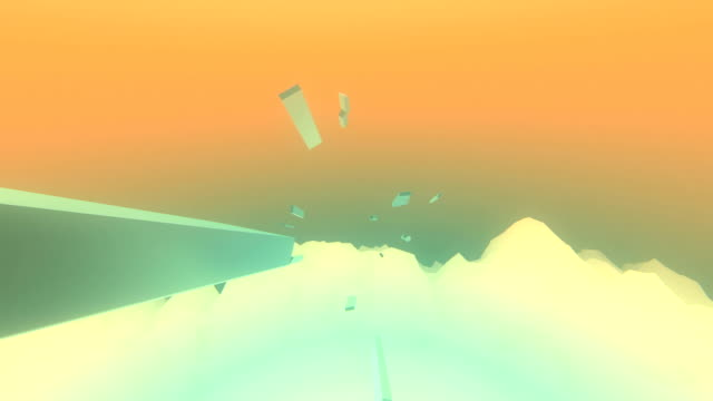 Flock of polygon shapes flying over abstract wavy mountains video