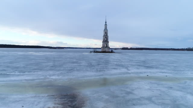 Flooded Belfry. Kalyazin. video