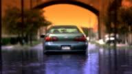 Flooded Car Under Arch Medium Shot - Enhanced Color video