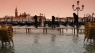 4K Flooding on St. Marc's square in Venice, Italy video