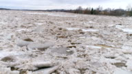 Floods and ice jam river Daugava video