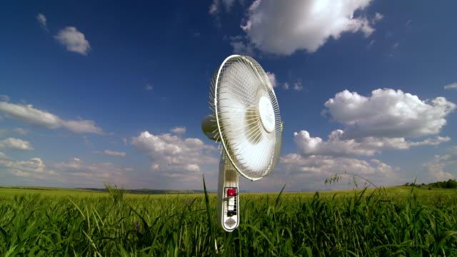 Floor electric fan turned on in green field video