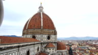 Florence cathedral panoramic from left to right on cloudy day video