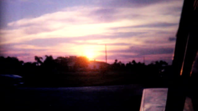 Florida Sunset From Moving Car-1961 Vintage 8mm film video