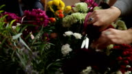 Florist at work choosing flowers for bouquet. video