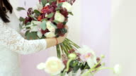 Florist Collect Beautiful Bouquet Of Flowers video